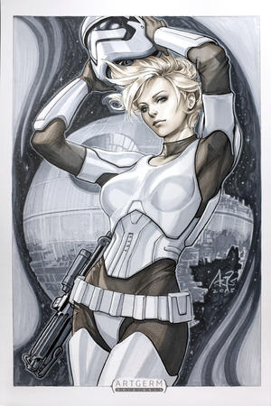 armor artgerm blaster blonde blue_eyes death_star gloves gun helmet star_wars stormtrooper // 800x1200 // 378.5KB