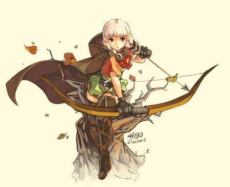 arrows boots bow cape elf gloves thighhighs white_hair // 1280x1044 // 218.3KB