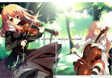blonde cello cigarette dress long_hair redhead sweater violin // 4351x3015 // 2.0MB