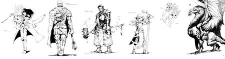 buckler bw cape cleric dragon fairy fighter group mace maul owl shield staff sword wizard // 4028x1063 // 581.6KB