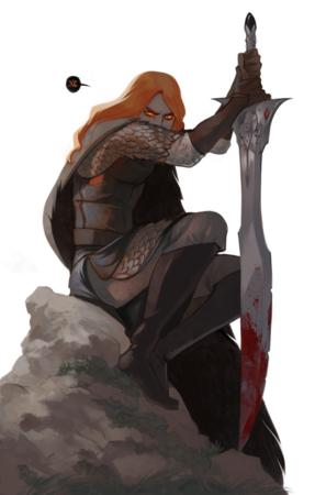 boots cape gloves oversized_weapon redhead sword // 470x738 // 340.2KB