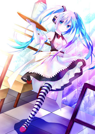 apron blue_eyes blue_hair dress gloves thighhighs twintails vocaloid waitress // 1181x1670 // 601.0KB