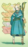 blonde braids dungeon_meshi elf green_eyes robe sandals staff // 850x1451 // 232.5KB