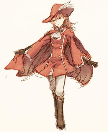 boots cape dress ffxi gloves hat pleated_skirt red_mage short_skirt sketch // 600x738 // 506.3KB