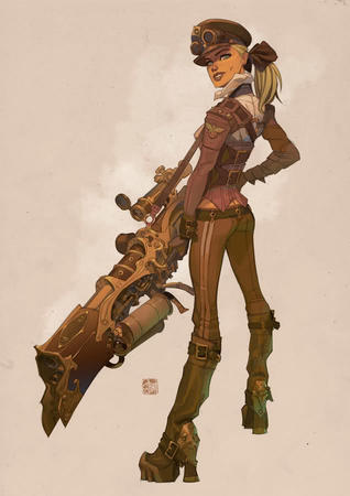 blonde blue_eyes boots goggles hat high_heels rifle // 636x900 // 47.4KB