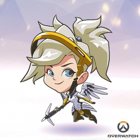 blonde blue_eyes halo mercy overwatch super_deformed wings // 400x400 // 170.6KB