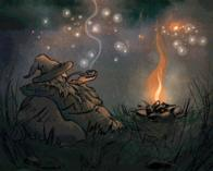 animated beard camp fire hat pipe smoke wizard // 426x341 // 1.6MB