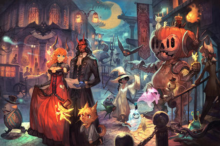 axe cleavage fairy gloves gown halloween horns jacket mask moon pumpkin redhead // 2254x1500 // 2.6MB