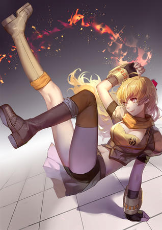 blonde boots cleavage fire gloves long_hair rwby scarf shorts thighhighs // 707x1000 // 403.0KB