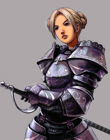 armor blonde braids brown_eyes gauntlets pauldrons sword // 500x635 // 45.4KB