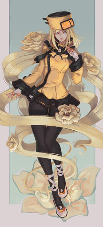 blonde blue_eyes flower gloves hat jacket long_hair pleated_skirt short_skirt skirt // 1280x2807 // 678.9KB