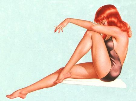 bare_shoulders barefoot cigarette pinup redhead swimsuit // 614x457 // 116.2KB