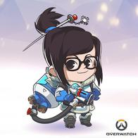 brown_eyes bruentte glasses mei overwatch parka ponytail super_deformed // 400x400 // 176.6KB