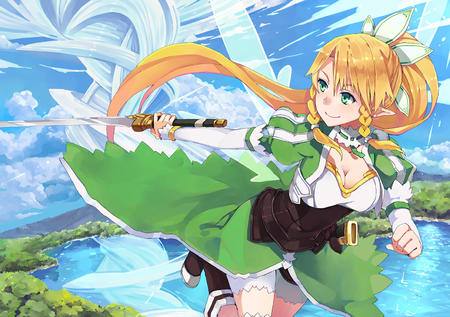 boots braids cleavage elf fairy green_eyes katana lyfa oppai ponytail shorts sword sword_art_online wings // 1545x1090 // 1.2MB