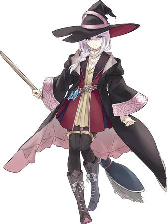 blonde blue_eyes boots braids broom hat turtleneck white_hair witch // 1542x2048 // 273.8KB