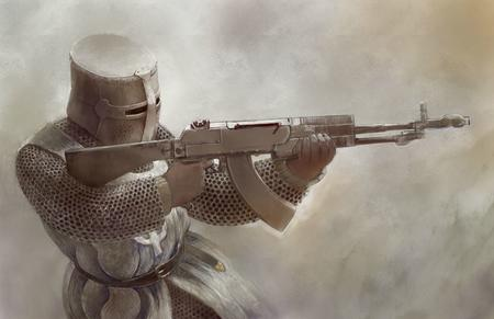 armor crusader gloves gun helmet maille rifle // 1360x880 // 142.9KB