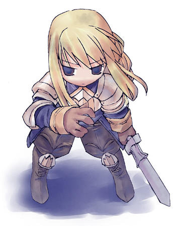 agrias armor blond_hair braids fft final_fantasy super_deformed sword // 474x600 // 49.6KB