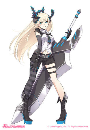 blonde blue_eyes boots gloves high_heels long_hair necktie oversized_weapon short_shorts shorts sword // 1800x2600 // 1.3MB