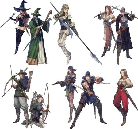 arrows boots bow composite dnd dress glaive gloves hat helmet polearm robe short_skirt spear sword witch wizard // 1500x1398 // 2.2MB
