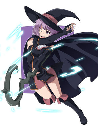 boots cape dress hai_to_gensou_no_grimgar hat purple_eyes purple_hair shihoru short_skirt shorts skirt staff witch // 1800x2400 // 2.1MB