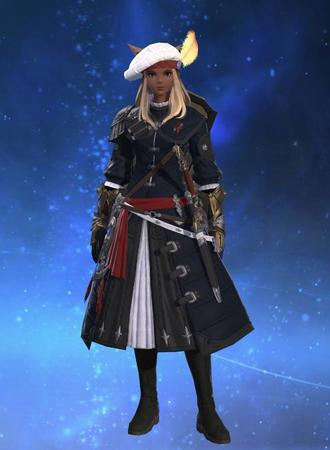 Adelina_Wyght FFXIV blonde boots coat dbg hat long_hair miqote nekomimi paladin shield sword // 640x873 // 44.6KB
