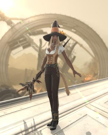 Adelina_Wyght FFXIV blonde dirndl hat miqote screenshot whm witch // 1080x1338 // 1.2MB