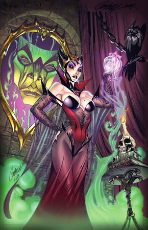 cleavage crow goblet gown mirror scott_campbell skull snow_white // 579x900 // 192.6KB