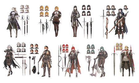 axe blonde breastplace brunette composite crossguard flail knight long_hair red_hair spear sword // 4000x2393 // 3.2MB