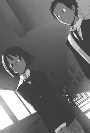 brunette bw durarara glasses jacket manga pleated_skirt school_uniform skirt sonohara_anri // 817x1200 // 132.3KB