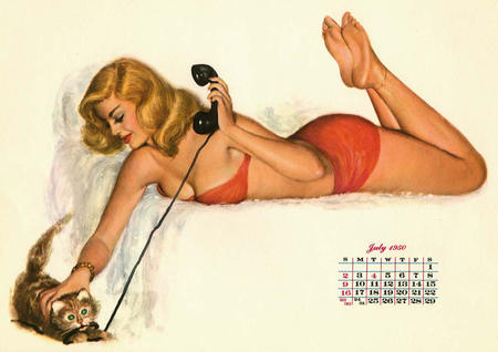 bare_shoulders barefoot bed bikini blonde calendar cat cleavage phone pinup swimsuit // 1200x849 // 109.3KB