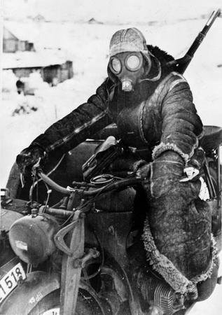 bw gasmask gloves jacket motorcycle photo rifle snow // 500x710 // 131.2KB