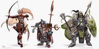 armor arrows blonde bow cape elf halfling mace orc paizo ponytail shield spear // 1506x750 // 323.9KB