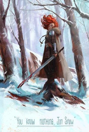 blood cloak crossguard redhead snow song_of_ice_and_fire sword // 500x744 // 69.8KB