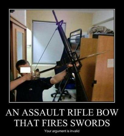 bow humor photo rifle sword your_argument_is_invalid // 600x660 // 45.8KB