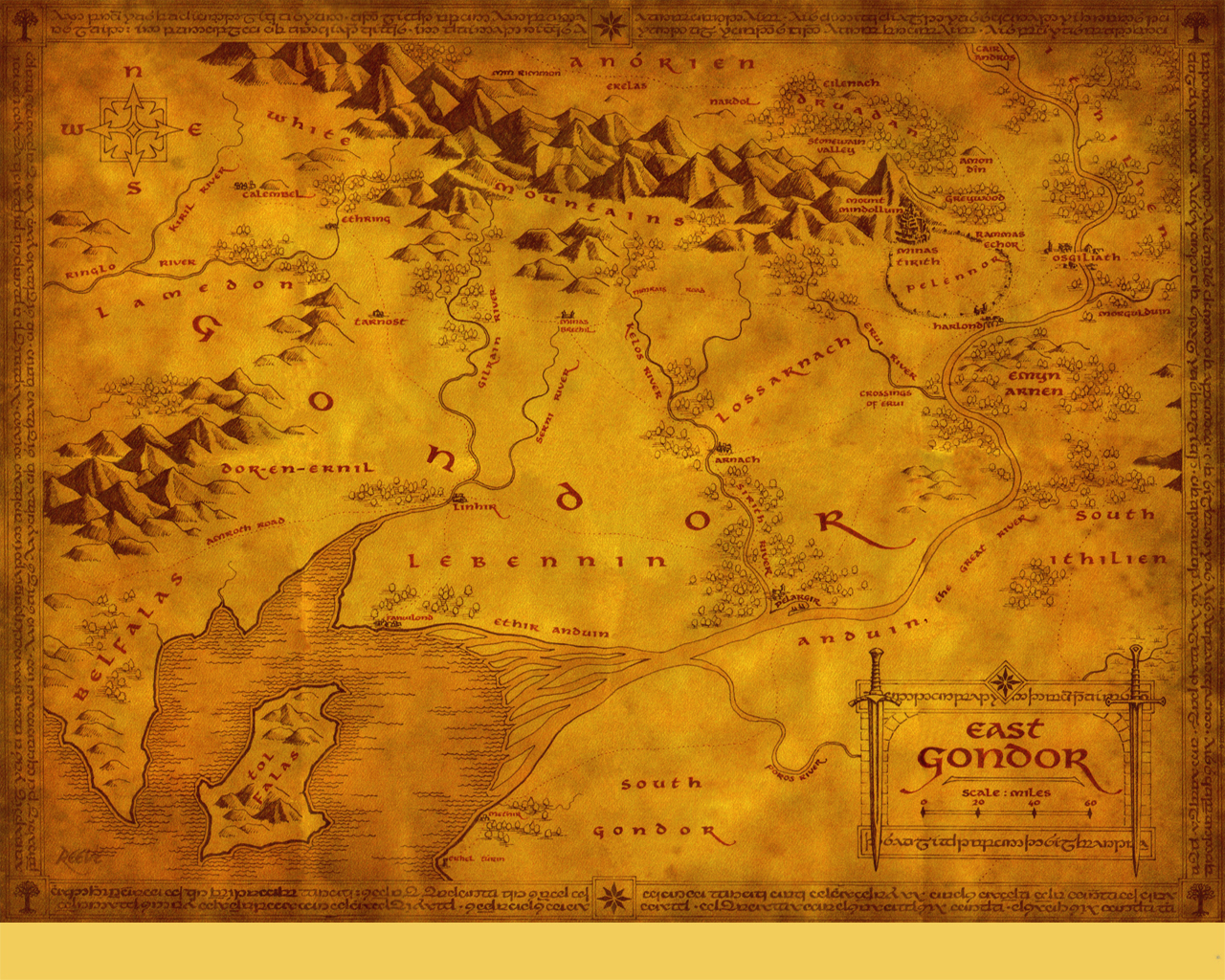 Image 10148 Gondor High Res Lotr Map Middle Earth