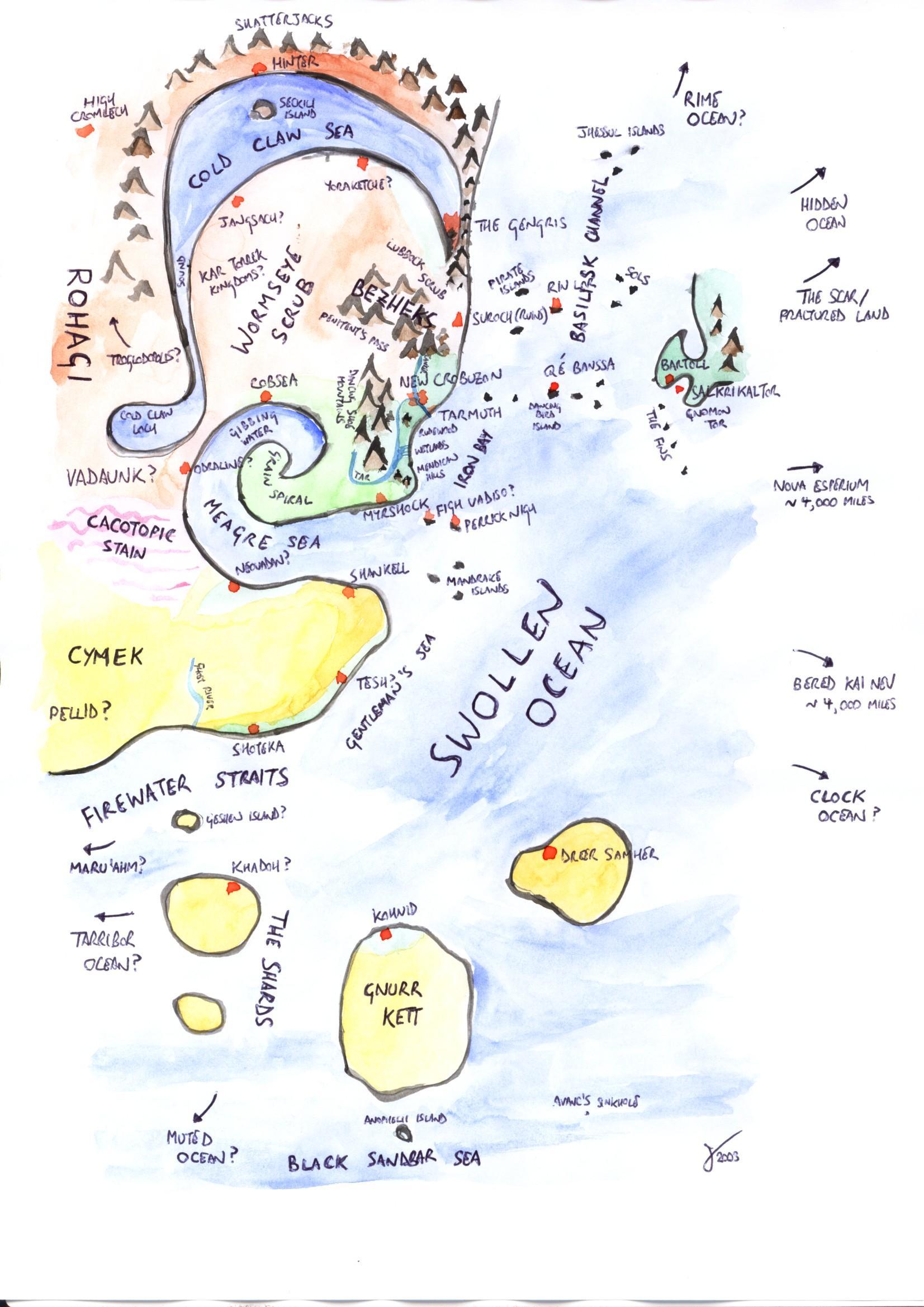 Bas Lag Map Mieville New Crozubon