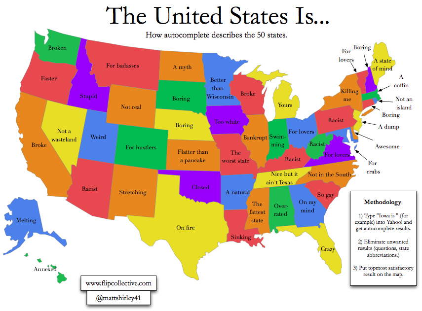 America Google Humor Map - Map of the whole world with names