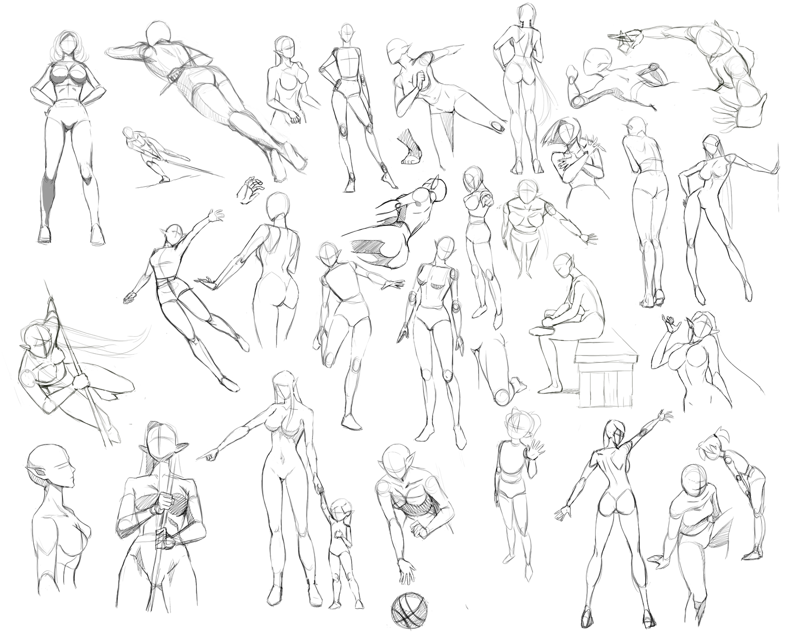 the basic composition of kneeling figures in studying