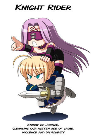 blonde fate long_hair purple_hair rider saber super_deformed sword // 500x750 // 142.3KB