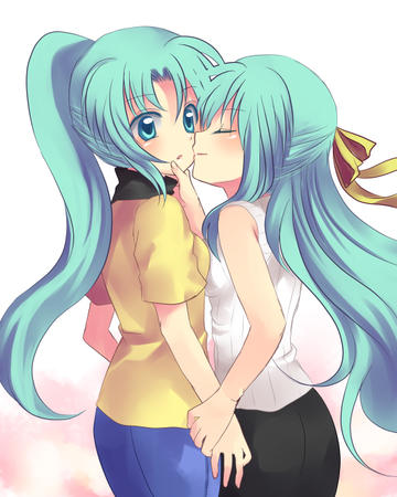 green_hair higurashi jeans long_hair mion ponytail ribbons shion symmetrical_docking tee-shirt // 520x650 // 222.2KB