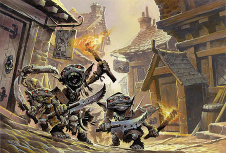 dnd fire goblin group paizo pathfinder sword torch // 788x536 // 111.1KB