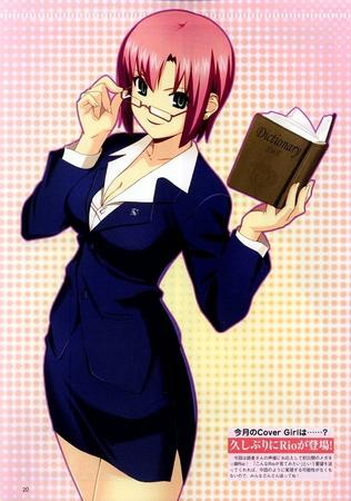 book glasses green_eyes jacket redhead rio skirt suit super_blackjack // 707x1008 // 163.6KB