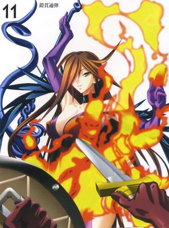 brunette fire gloves gown high_res long_hair nyx oppai queens_blade rod shield sword // 1063x1436 // 233.4KB