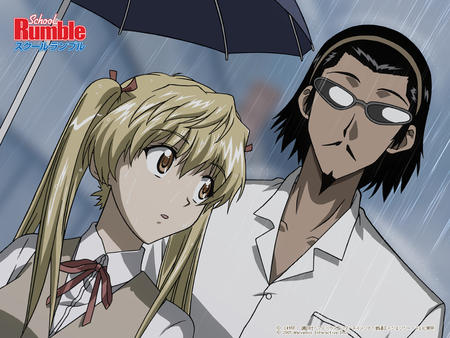blonde desktop eri harima headband mustache rain ribbons school_uniform twintails umbrella vest // 1024x768 // 600.6KB