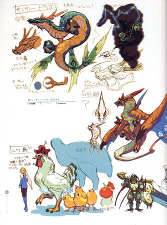 artbook blonde breath_of_fire capcom chicken composite dragon dress high_res sketch // 2000x2693 // 737.5KB