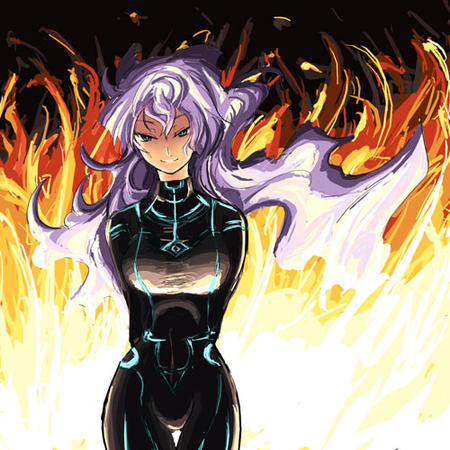 fire gurren_lagann jumpsuit long_hair nia purple_hair // 500x500 // 81.2KB