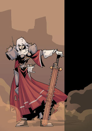 adeptus_sororitas chainsword gauntlet gray_hair sisters_of_battle sword warhammer wh40k // 495x700 // 205.5KB