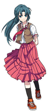 green_hair higurashi long_hair mion necktie ponytail skirt vest // 295x630 // 43.9KB