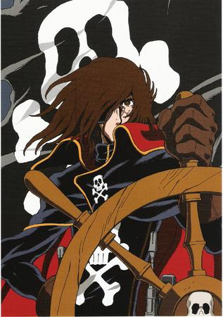 brunette cape eyepatch flag gloves harlock high-res pirate // 1317x1867 // 1.5MB