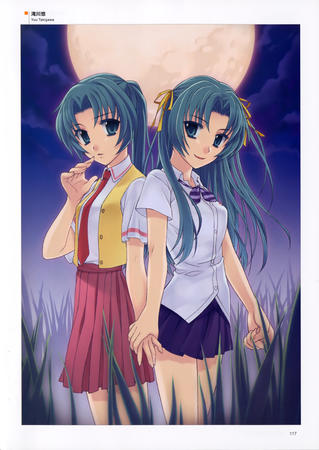 green_eyes green_hair high_res higurashi long_hair mion moon necktie ponytail ribbons shion skirt vest // 2347x3313 // 891.1KB